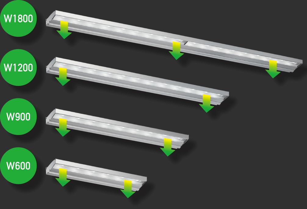 幅広いサインに対応。ユニット本体の連結や組み合わせが可能。アドビューシリーズのすべてのタイプに600・900・1200・1800mmのユニットをご用意。単体の仕様や、連結して更に間口の大きなサインに対応できます。ファサード・ポールサイン・大型壁面・塔屋サインなど幅広い用途に対応します。