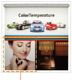 看板照明のLED色温度メディア照射イメージ:昼白色(5000K)アドビューN W1200-50Kの場合