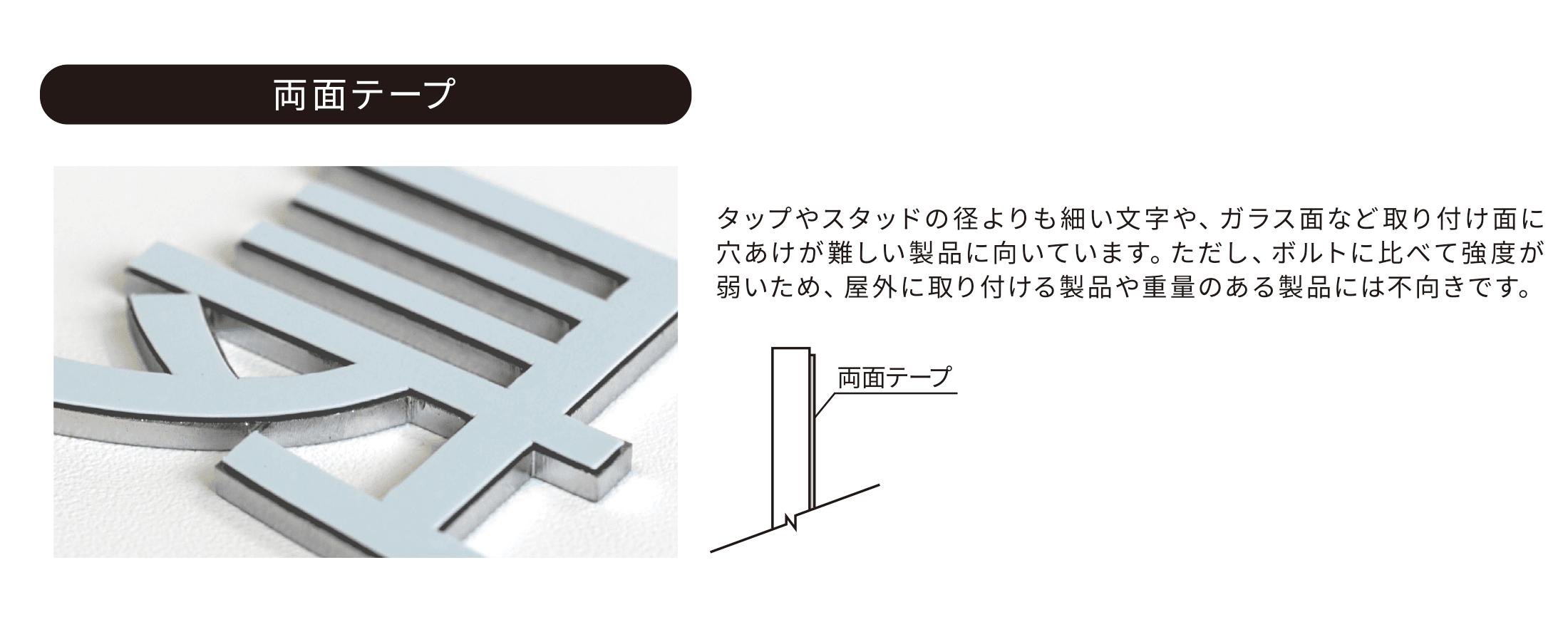 両面テープ タップやスタッドの径よりも細い文字や、ガラス面など取り付け面に穴あけが難しい製品に向いています。ただし、ボルトに比べて強度が弱いため、屋外に取り付ける製品や重量のある製品には不向きです。
