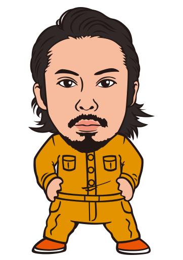 作業着を着た男性のシンプルリアル風似顔絵制作例