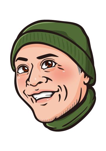 顔マークのリアル風似顔絵制作例