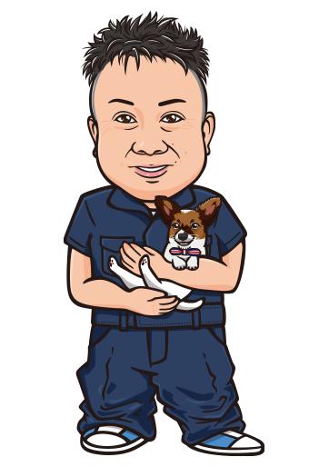 作業着を着て猫を抱いている男性のリアル風似顔絵制作例