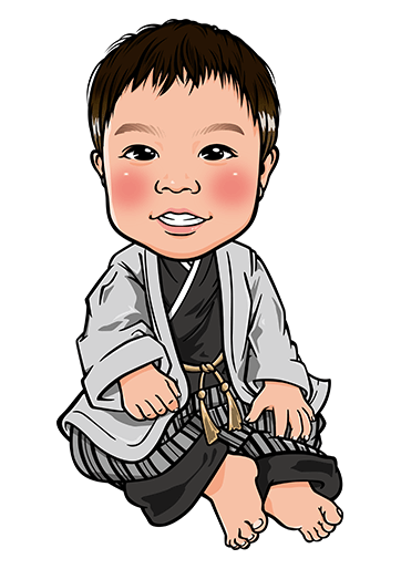 袴姿の男の子のリアル風似顔絵制作例