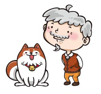 お爺さん&犬のオリジナルイラスト制作例