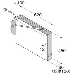 【構造図[立体]】【蛍光灯】アルミサイン小型「角」突出し看板AD-2508-Y シルバー