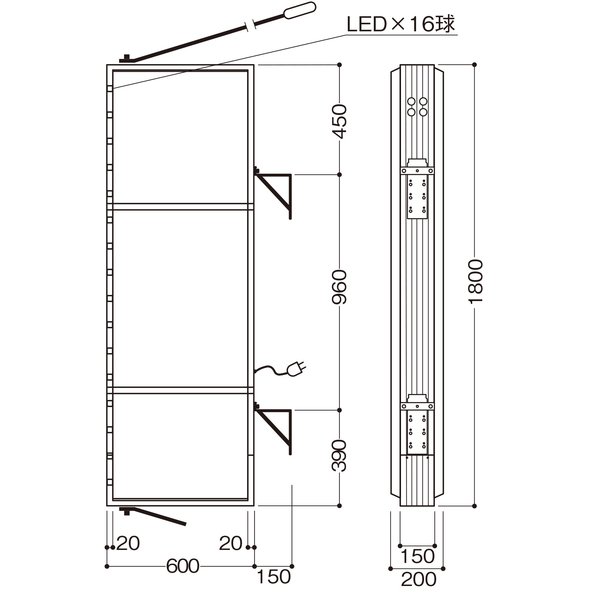 【LED照明】アルミサイン6尺「角」突出し看板AD-6215E-LED シルバー