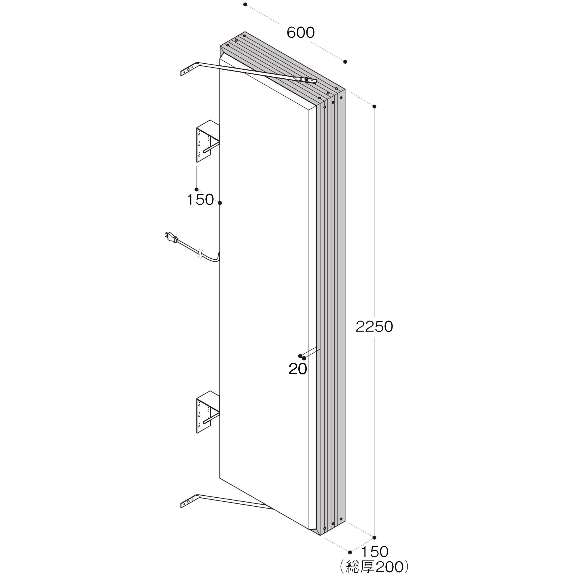 【構造図[立体]】【LED照明】アルミサイン7尺「角」突出し看板AD-7215E-LED シルバー