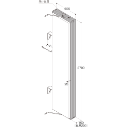 【構造図[立体]】【LED照明】アルミサイン9尺「角」突出し看板AD-9215E-LED ブラック