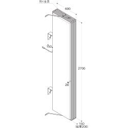 【構造図[立体]】【LED照明】アルミサイン9尺「角」突出し看板AD-9215E-LED シルバー