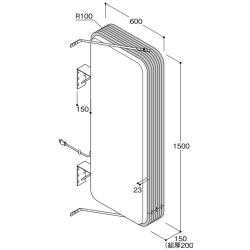 【構造図[立体]】【LED照明】アルミサイン5尺「角丸」突出し看板ADR-5215E-LED シルバー