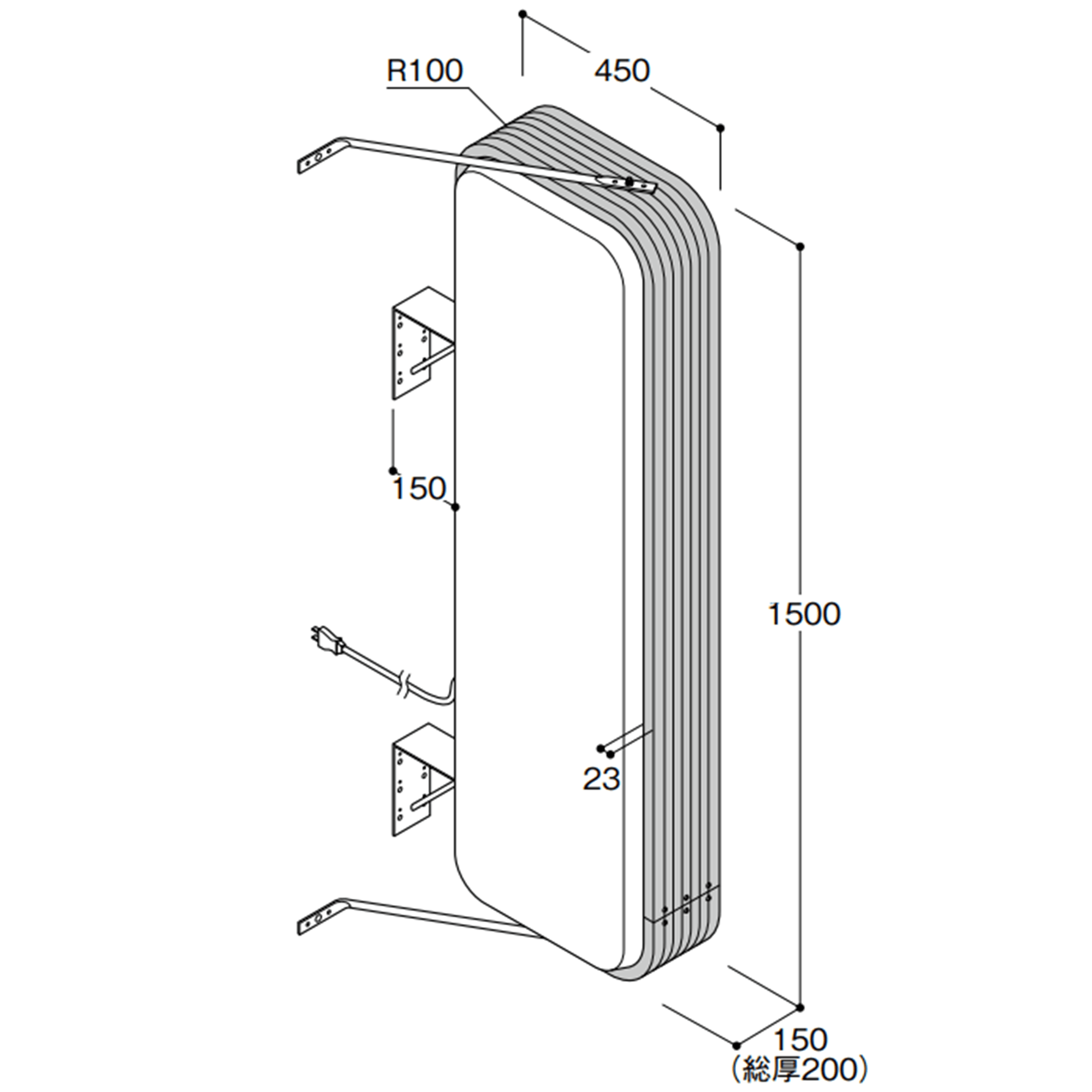【構造図[立体]】【LED照明】アルミサイン5尺「角丸」突出し看板ADR-5515E-LED シルバー