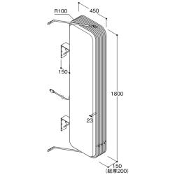【構造図[立体]】【LED照明】アルミサイン6尺「角丸」突出し看板ADR-6515E-LED シルバー