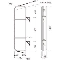 【LED照明】アルミサイン6尺「角丸」突出し看板ADR-6515E-LED シルバー