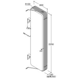 【構造図[立体]】【LED照明】アルミサイン7尺「角丸」突出し看板ADR-7215E-LED シルバー