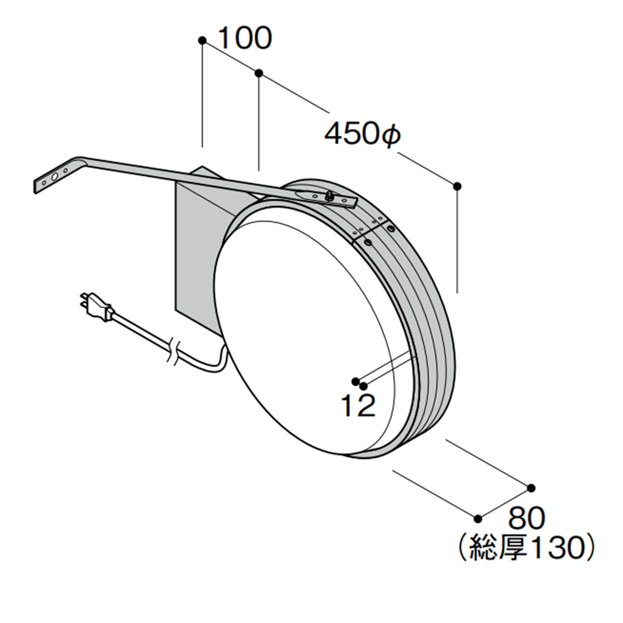 【構造図[立体]】【蛍光灯】アルミサイン小型「丸」突出し看板ADS-4508 シルバー