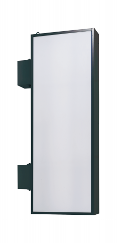 【蛍光灯】アルミサイン200巾平板面板「角」突出し看板AD-6220 ブラック
