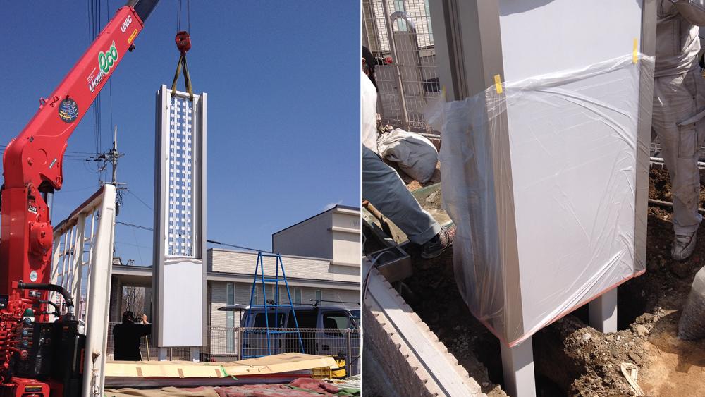 自立看板タワーサインの施工写真