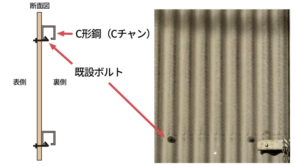 プロ直伝!スレート壁面にプレート看板を取付ける方法3選-1.スレート壁面の既設ボルトを使用する