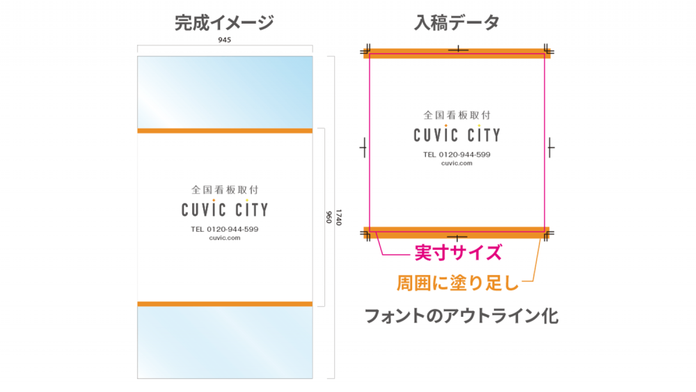 看板デザイン作成のコツと注意点【窓ガラスシート編】-ウィンドウサイン看板シートのデザイン例