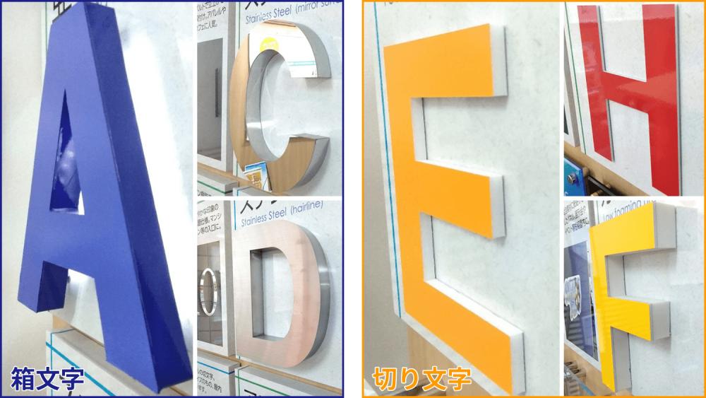 箱文字と切文字の違いとは?立体文字看板について詳しくご紹介!-箱文字と切文字の比較写真