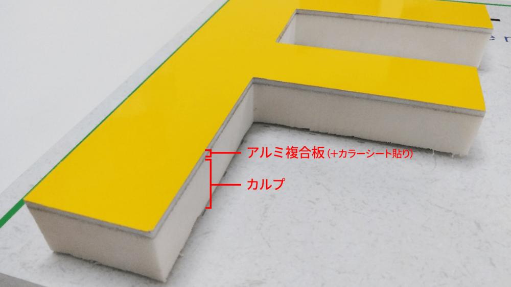 カルプ文字は屋外で使用できる?劣化を防ぐ方法とは-カルプ文字にアルミ複合板を組み合わせた文字サンプル写真