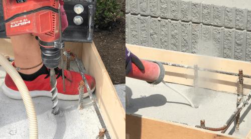 タワーサイン・自立看板施工事例写真 東京都 あと施工アンカーで看板を固定すためまず根巻き用の型枠を行い、看板ベースプレートの穴位置に合わせハンマードリルで孔あけを行います