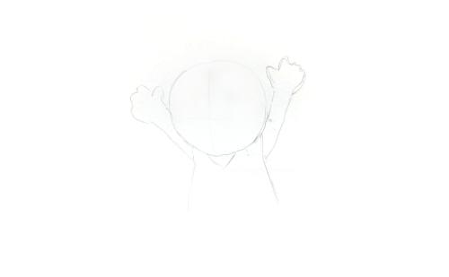アタリ ( 大まかな位置) を描きます