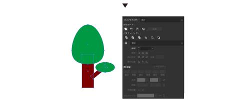 「レイヤー1のコピー」の木のパスを全て選択したら、 パスファインダーの形状モード:合体を選択します。
