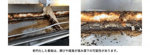 老朽化した看板は、錆びや腐食が進み落下の可能性があります。