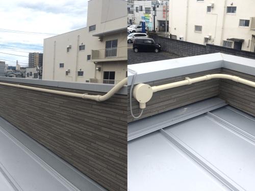 ファサード・壁面看板施工事例写真 静岡県 屋根に上げた配線をパラペットを伝って看板まで持っていきます。 コーナー部分も曲げ部材を使って仕上がりも綺麗に配管します